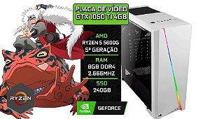 PC Gamer - Placa Mãe B450-M + RYZEN 5 5600G + 8GB DDR4 2666Mhz + SSD 240GB + Placa De Vídeo GTX 1050 TI 4GB + 1 FAN RGB