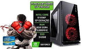 PC Gamer - Placa Mãe H410-M + Core i3 10100F + GT 710 2GB + 8GB DDR4 2666MHz + SSD 240GB