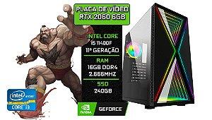 PC Gamer - Placa Mãe B510-M + Core i5 11400F + 16GB DDR4 2666Mhz + SSD 240GB + RTX 2060 6GB + 1 FAN RGB