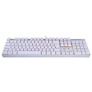 Teclado Mecânico Gamer - Redragon Mitra RGB, Switches Redragon, ABNT2, Lunar White - K551W-RGB