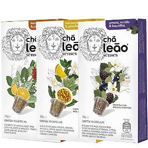 Combo de 3 sabores de Cápsulas de Chá Leão Senses - 30 Cápsulas