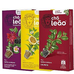 Combo de 3 sabores de Cápsulas de Chá Leão Frutas e Flores - 30 Cápsulas