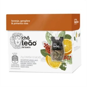 Chá Leão Senses Laranja, Gengibre & Pimenta Rosa Sachês - 10Ud
