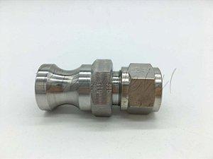 Engate rápido macho camlock 1/2 x conector de compressão 1/2 em inox 316