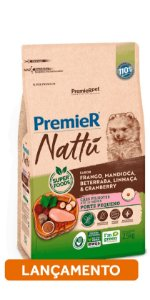 RAÇÃO PREMIER NATTU ADULTO 2,5KG (FRANGO, MANDIOCA, BETERRABA, LINHAÇA E CRANBERRY)