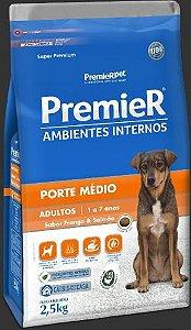RAÇÃO PREMIER AMBIENTE INTERNOS PORTE MÉDIO ADULTO 2,5KG (FRANGO E SALMÃO)