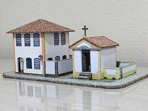 Igreja + Solar  1:87, Maquete De Papel - Já Montado 3d Novos