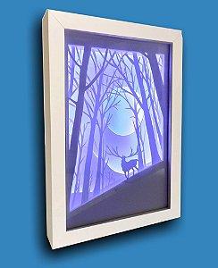 Quadro Decorativo Cervo / Lua - Corte Artesanal Papel E Led