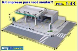 Posto BR - Cortar e Colar - Já Impresso + Manual  1/87 1:64 / 1:43