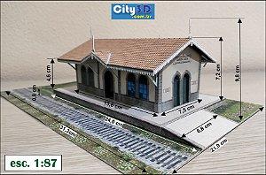 Estação Trem Em Papel 1:87 Maquete Já Montada Santa Luzia