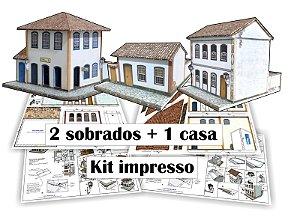 """Kit """"B"""" Casas E Capela para Montar - Já Impressa + Manual 1:87"""