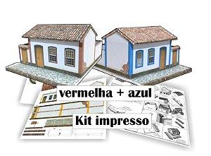 kit para montar 2 Maquetes Casinha Esc. 1:87- ho, - Ferromodelismo - Papel 240 g