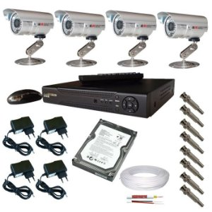 Kit cftv com 4 câmeras de segurança Infravermelho e DVR stand alone luxvision acesso via internet