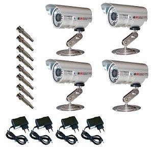KIT 4 câmeras de segurança infravermelho para monitoramento noturno e diurno