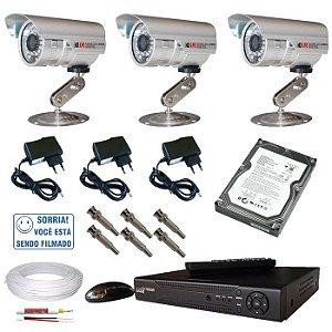 Kit 3 câmera segurança infravermelho DVR stand alone HDMI via internet