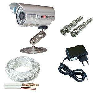 KIT monitoramento infravermelho 1 câmera de segurança com fio conector bnc e fonte 1 amperes