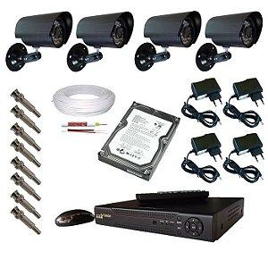 Kit cftv para 4 câmeras de segurança infravermelho com acesso das imagens via internet