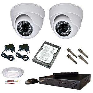Kit 2 câmera segurança dome Dvr stand alone via Internet HD 500GB