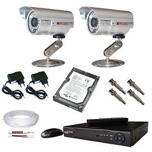 Kit sistema de segurança composto de 2 câmeras de segurança infravermelho com DVR stand alone com acesso das imagens via internet