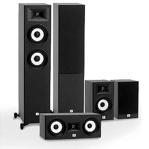 Kit de Caixas Acústicas 5.0 JBL Para Home Theater - 2 Stage A180 Torres + 1 Stage A125C Central + 2 Stage A130 Bookshelf