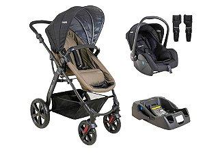 Carrinho Galaxy Kiddo com Bebê conforto e base Preto com Cappucino