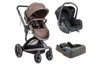 Carrinho Travel System Quantum Kiddo com Bebê Conforto e Base Melange com Marrom