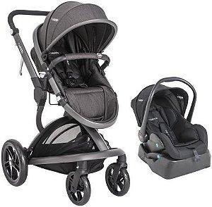 Carrinho Travel System Quantum Kiddo com Bebê Conforto e Base Melange com Preto