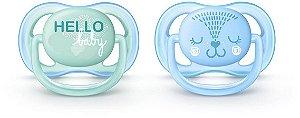 Chupeta Philips Avent Ultra Air 0 a 6 Meses Decorada Azul