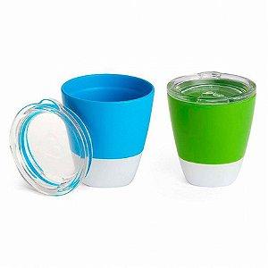 Conjunto com 2 Copos com Tampa Azul e Verde Munchkin (Splash Toddler Cups)