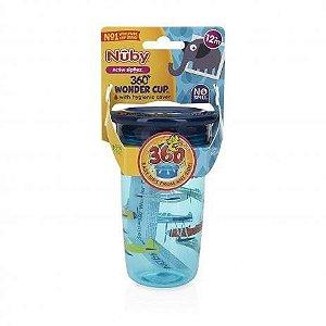 Copo 360 Nuby Wonder Cup com tampa higiênica Azul