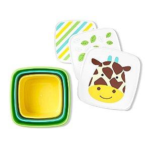 Kit com 3 porta Snack Girafa Skip Hop Zoo