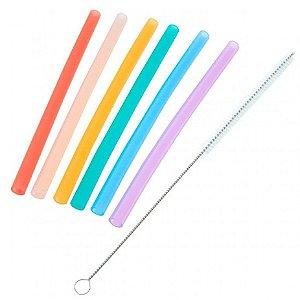Kit de canudos com escovinha para limpeza