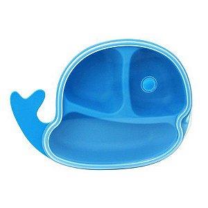 Prato com tampa divisórias Baleia Clingo Azul