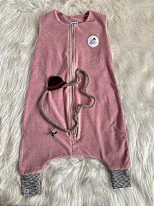 Saco de Dormir Infantil Com Pé Plush Rosa (Tamanho 1)