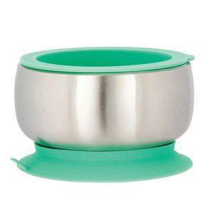 Tigela Aço Inoxidável com Ventosa e Tampa Verde Avanchy