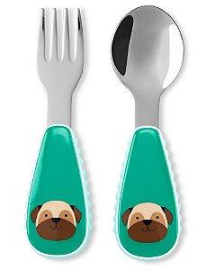 Conjunto de Talheres (Garfo e Colher) Skip Hop Zoo Cachorro Pug