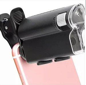 Microscopio Portatil Lupa Celular Zoom 100x Luz Uv E Branca