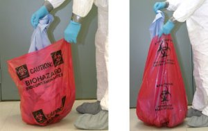 Sacos vermelhos para resíduos infecciosos com risco biológico 60cmx x 58cm- 200 unidades SKU: FS-BAGBIO24X24