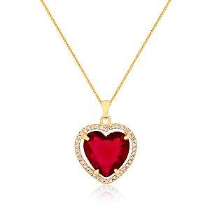 Colar de coração com pedra natural vermelho cravejado com zircônias folheado em ouro 18k