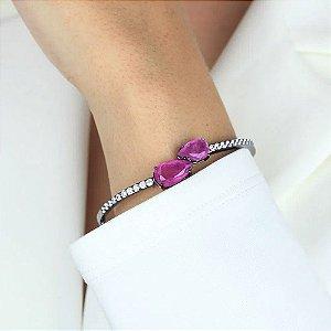 Bracelete cravejado de zircônias com duas gotas roxa folheada em ródio negro