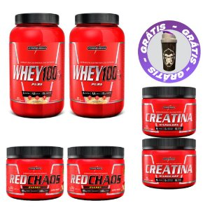 COMBO WHEY 100% PURE 900G + 2X RED CHAOS ENERGY + 2X CREATINA 150G - INTEGRALMEDICA