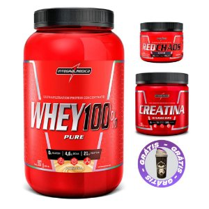 COMBO WHEY 100% PURE 900G + CREATINA 300G + RED CHAOS TESTO 150G - INTEGRALMEDICA
