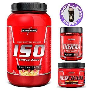 ISO TRIPLE WHEY 907G + THERMA PRO 60CAPS + RED CHAOS BURN 150G -  INTEGRALMEDICA