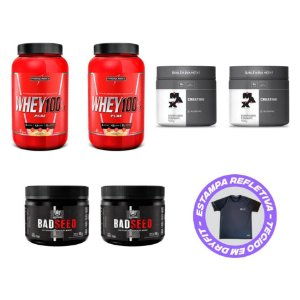 COMBO 2X WHEY 100% PURE + 2X CREATINA + 2X BADSEED + CAMISA DRY FIT