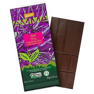 Chocolate Orgânico 75% Cacau Açaí AMMA Caixa 6 un