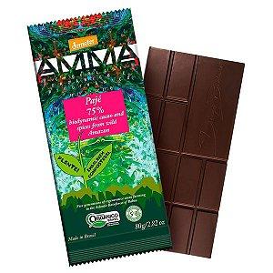 Chocolate Orgânico 75% Cacau Pajé AMMA Caixa 6 un