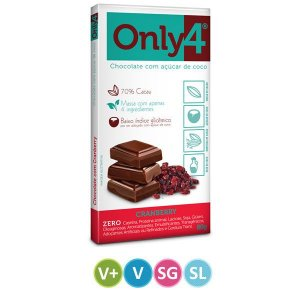 Tablete Chocolate Only4 70% Cacau com Cranberry