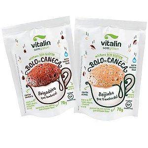Bolo de Caneca Brigadeiro + Beijinho Sem Glúten / Sem Lactose