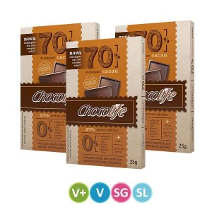 Tablete de Chocolate 70% Cacau - 3 unidades