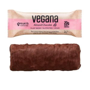 Barra de Proteína Vegana Amêndoas e Chocolate Hart's - Caixa com 12